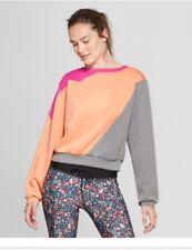 Women's Color Block Sweatshirt - JoyLab™ Gypsy Pink Cantaloupe Orange Gray New