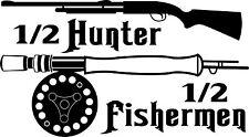 Half Hunter Fisherman Fishing Hunting Gun Truck Window Vinyl Decal Sticker