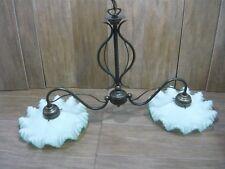 LUSTRE liberty en laiton bruni à 2 lampes avec verre mouchoir opaline