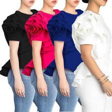 Women ruffled sleevles bodycon club party casual OL career shirt blouses tops