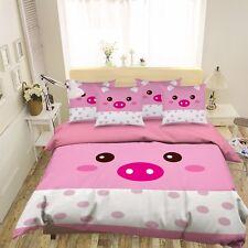 3D Pink Polka Dot Pig 42 Bed Pillowcases Quilt Duvet Cover Set Single Queen CA