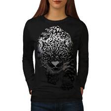 Wellcoda Cougar Puma Killer Womens Long Sleeve T-shirt, Cat Casual Design