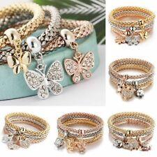 Fashion 3Pcs Gold Silver Rose Gold Bracelets Set Rhinestone Bangle Women Jewelry
