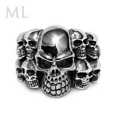 Mens Stainless Steel Silver & Gold Skull Skeleton Punk Rock Biker RING SIZE 9-12