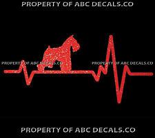 HEART BEAT LINE DOG MINI Miniature Schnauzer Paw Adoption Rescue CAR METAL DECAL