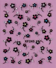 Daisy Rose Flowers Rhinestone Crystal 3D Nail Art Stickers XF245
