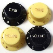Strat Perillas Tono Y Volumen En Negro O ivory/cream 0-10 Escala cualquier combinación
