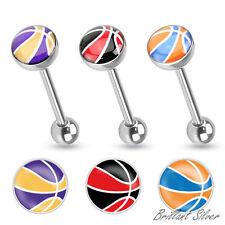 Zungenpiercing Hantel Barbell Stab Piercing Zunge Basketball Logo Motiv