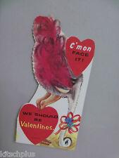Vtg Ostrich Emu Bird Head in Sand Valentine Card UNUSED