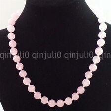 "8/10/12mm Natural Rose Quartz Round Gemstone Beads Necklace 18"""