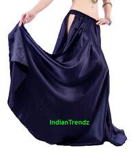 Navy Blue Satin Panel Full Circle Skirt Belly Dance Tribal Slit Gypsy Oriental