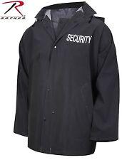 Mens Black SECURITY Rain Jacket - Rothco PVC Bouncer Staff Uniform Coat
