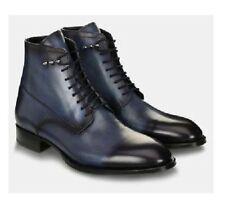 Scarpe da uomo in pelle fatto a mano Blu Navy Caviglia Stivale in Pelle per Uomo