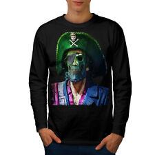 Pirata Teschio Metallo Divertente Uomini Manica Lunga T-shirt Nuove   wellcoda