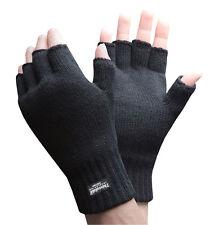 Mens 3M Thinsulate 40 gramos de aislamiento térmico de punto Guantes Sin Dedos Negro Fino