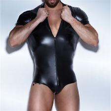 Men's Faux Leather Bodysuit Latex Catsuit Men Crotchless Gay Men's Sexy Lingerie