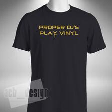 Proper Dj's Play Vinyl Mens T-shirt Old Skool Records Houes Dance Music Lover