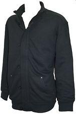 Espionage Zip & Button Up Sweatshirt Jacket Black