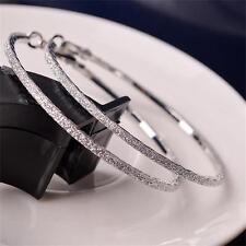 Rhinestone Matte Diamante Fashion 6CM Big Hoop Round Dangle Earring Women