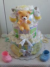 3 Tier Beary Beautiful Baby Diaper Cake Shower Gift Centerpiece Boy Girl Unisex