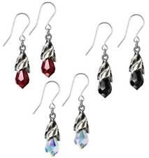 Alchemy Gothic Empyrean Tear Crystal Black Red Rainbow Dangling Earrings E437