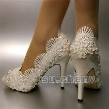 """su.cheny Peep open toe 3"""" 4"""" heel satin white ivory lace Wedding Bridal shoes"""