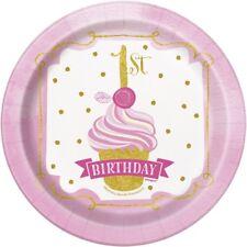 rose & or 1st anniversaire 18cm gâteau dessert assiettes en papier Fête Buffet