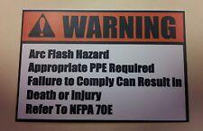 """""""Arc Flash Hazard""""  (10)  Arc Flash Safety Warning Label 2.25x1.5 Vinyl Sticker"""