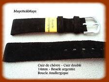 BRACELET MONTRE CUIR de Chèvre doublé 14mm - Marron Boucle anallergique R.CH006