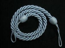 2 Rope curtain tiebacks  - BLUE   - slender slinky cord drape tie back Holdbacks