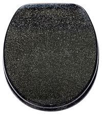 BLACK GLITTER RESIN SPARKLE TOILET BATHROOM SEAT LID WITH CHROME HINGES