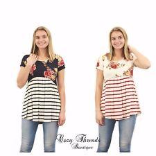 NEW Boutique Twenty Second JESSIE FLORAL & STRIPE Tunic - 2 Colors - S M L