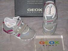 GEOX Klett-Sneaker Halbschuhe Schuhe Leder Textil grau fuchsia pink weiß B1112M