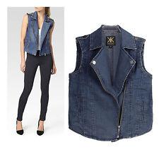 Kardashian Kollection Blue  Epaulette Zip  Denim Moto Vest RRP $68