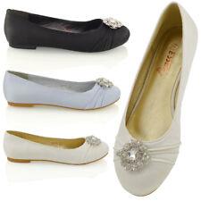 Señoras para mujer bombas de Satén Nupcial Diamante Broche Resbalón en Zapatos Planos Bailarina