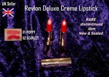 REVLON Deluxe Creme cream Lipcolor lipstick RARE red 01 POPPY 02 SCARLET sealed