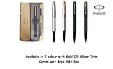 Parker Frontier Stainless Steel & Matt Blck In Gold & Chrome Tone Rollerball Pen