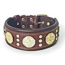Bestia Maximus Halsband für große Hunde. Braun & Gold. 100% Leder. Handgemacht