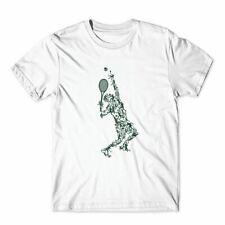 Tennis Player Balls Drawing T-Shirt 100% Cotton Premium Tee NEW