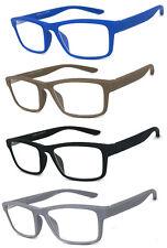 1 or 2 Pair Men Women Retro Square Rubberized Frame Reading Glasses Spring Hinge