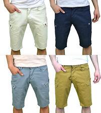 Crosshatch Mens Designer Branded Chino Summer Cargo Cotton Casual Shorts, BNWT