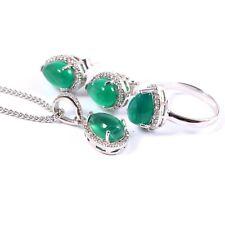 Green Onyx Ring Earrings Pendant Matching Jewelry Set 925 Sterling Silver Boho