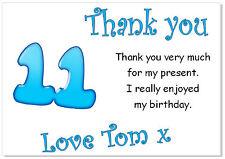 10 Personalizado Tarjetas de Agradecimiento & Envs, gracias Cumpleaños edad 11 fiesta chicos once