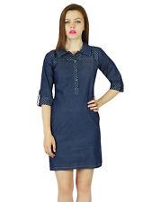 Bimba Women Short Blue Thin Soft Denim Mini Dress Classic Chic Clothing