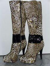 Damenstiefel High Heel Plateau Stiletto Leopard Design Abs. ca. 11,5cm