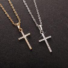 Brillante 18K/ct Oro Blanco/Oro Circonita PL Cruz Colgante Cadena Collar Regalo