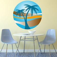 PALMA tramonto Wall Sticker Vacanza Paradise Spiaggia Tropicale Retrò decalcomania Art