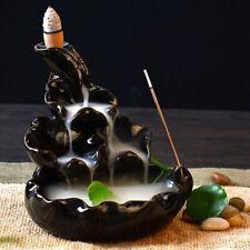 NUEVO NEGRO PORCELANA REFLUJO Cerámica Cono Quemador De Incienso Soporte Budista
