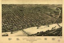 Stampa POSTER Antico città americane città mappa degli stati Little Rock Arkansas