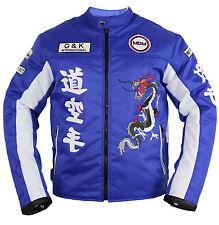 Hommes moto textile veste avec protections en bleu racing Coupe-vent ventilée naturellement